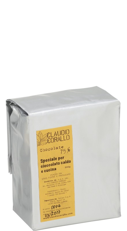 Cioccolato Corallo 75% 500gr