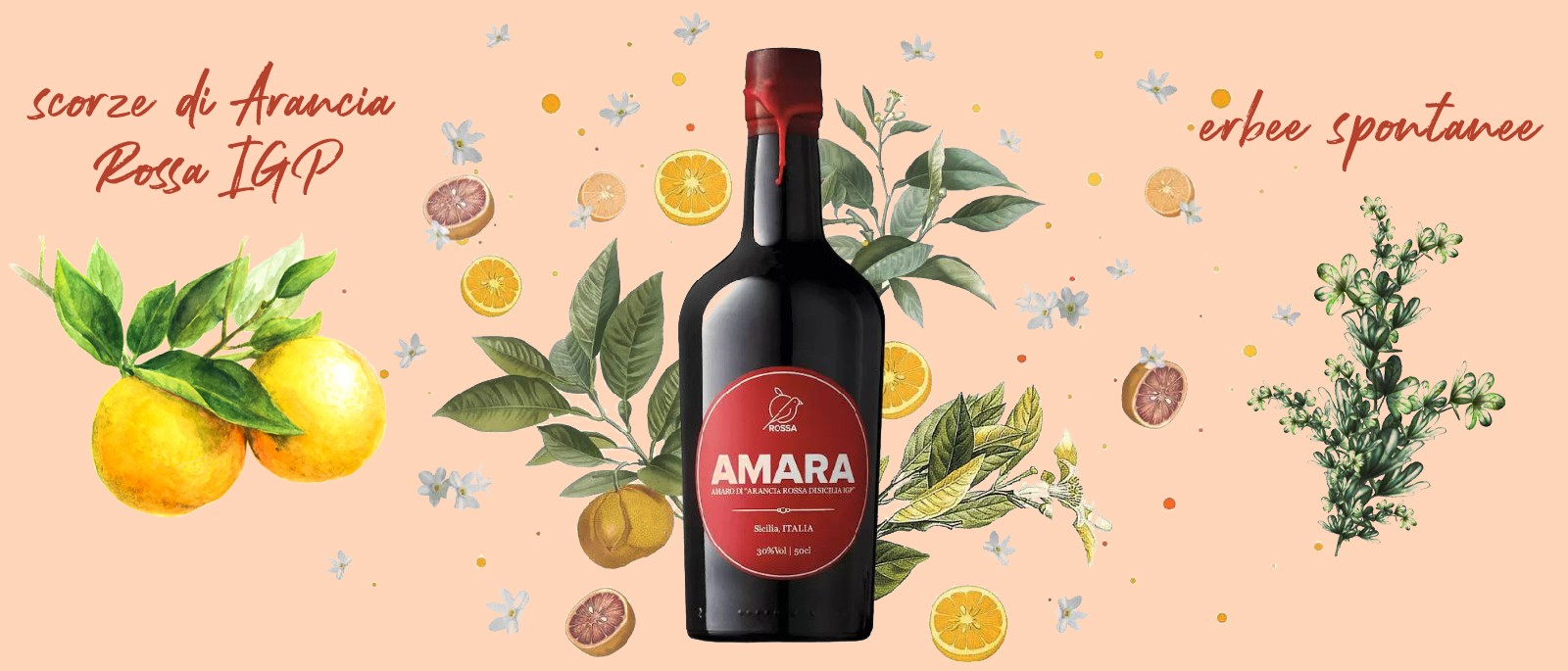Amara Bitter Liquor of Red Oranges from Sicily